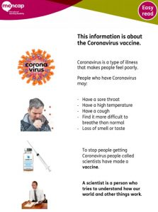 Easy Read information about the Coronavirus vaccine